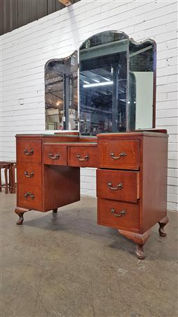 Sale 9157 - Lot 1095 - Timber wingback mirrored dresser with 7 drawers below (h173 x w118 x d49cm)