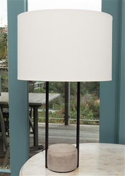 Sale 9191H - Lot 39 - Pair of composite stone based table lamps with cream shades, H 67 cm