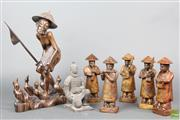 Sale 8621 - Lot 43 - Rosewood Figure of An Elder Together with Stone Musicians and Terracotta Figure
