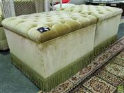 Sale 8629 - Lot 1034 - Pair of Green Upholstered Ottomans on Castors