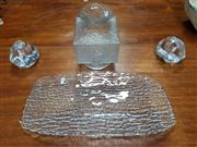 Sale 8765 - Lot 1006A - Pair of Kosta Boda Candle Holder, Littalia Glass Vase & Tray (4)