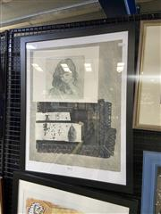 Sale 9019 - Lot 2064 - Roussana Lenchit, Young Girl Dreaming, etching ed. 40/45, frame  71 x 55 cm
