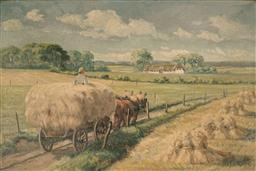 Sale 9116 - Lot 563 - Frederick Ellgarrd (1896 - ?) Hay Harvest & Horse Cart oil on canvas 63 x 94 cm (frame: 74 x 105 x 4 cm) signed as alias Fr. K. G ...