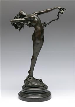 Sale 9138 - Lot 10 - After H Frishmuth bronze figure Lady with Wreath (Height 38cmDiameter of base 15cm)