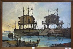 Sale 9152 - Lot 2008 - UGO BINI Trabucco 1979 oil on canvas, 54 x 79cm (frame) signed and dated lower right -