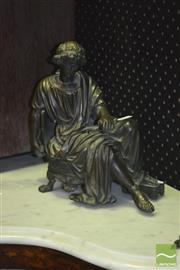 Sale 8345 - Lot 1098 - Antique Cast Sectional Bronze Figure of a Roman Youth, sitting on a chair