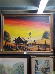 Sale 8645 - Lot 2017 - Artist Unknown - Australian Outback Scene, acrylic on board 52.5 x 67.5cm unsigned