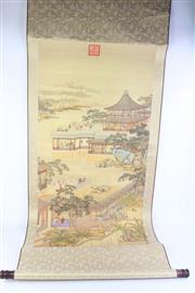 Sale 8802 - Lot 445 - Large Chinese Scroll Depicting Pavilion Scene