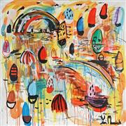 Sale 8968A - Lot 5048 - Yosi Messiah (1964 - ) - Colourful Harbour 102 x 102 cm (total: 102 x 102 x 4 cm)