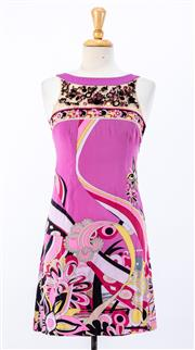 Sale 8891F - Lot 50 - An Emilio Pucci, Firenze printed sleeveless shift dress with heavy embellishment to bodice, size 8