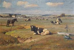 Sale 9116 - Lot 561 - Borge Ball (1906 - 1979) Horse & Cattle oil on canvas 65 x 95.5 cm (frame: 78 x 108 x 4 cm) signed lower left