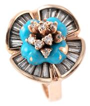 Sale 9095 - Lot 315 - A 14CT GOLD STONE SET RING; floral cluster with blue enamelled center set with brilliant and baguette cut white stones on a fine scr...