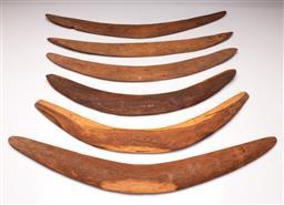 Sale 9122 - Lot 9 - A Group Of Aboriginal Boomerangs (6) (Longest L: 70cm)