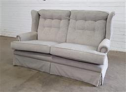 Sale 9154 - Lot 1062 - Fabric 2 seater wing back lounge (h:106 x w:173cm)