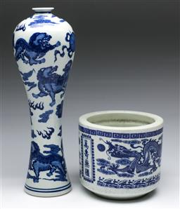 Sale 9173 - Lot 30 - A blue and white Meiping vase (H:33cm) together with a jardiniere (H: 13cm)