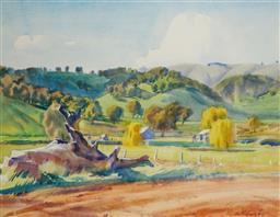 Sale 9191A - Lot 5011 - GEORGE CROSSLEY (1919 - 1973) Landscape watercolour 41 x 53 cm (frame: 66 x 77 x 3 cm) signed