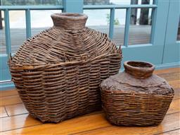 Sale 9191H - Lot 44 - Two cane basket form vases, tallest 49 cm