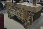 Sale 8310 - Lot 1633 - Heavily Carved Oriental Sideboard