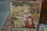 Sale 8317 - Lot 1098 - Victorian Needle Work Panel, of three ladies in a garden palace (stretcher loose)
