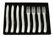 Sale 8401B - Lot 32 - Laguiole by Louis Thiers Organique 8-piece Steak Knife & Fork Set In Polished Finish RRP $250