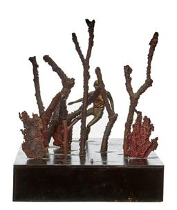 Sale 8575J - Lot 54 - Artist unknown, Australian contemporary school sculpture , man amongst the trees, width 30cm