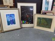 Sale 8561 - Lot 2069 - 3 Works: P.Graham Abstract Print SLR, Leonie A Deane Escape to the Unknown Print SLR & Black Abstract Print Unsigned