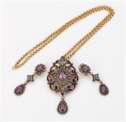 Sale 8414A - Lot 81 - An exquisite  19th century French 18ct gold and rose cut diamond, enamel, amethyst and seed pearl demi-parure on 18ct belcher chain...