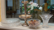 Sale 8677B - Lot 583 - An EP epergne with associated cut glass bowls and vases, height of epergne 35cm