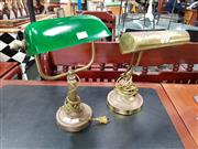 Sale 8769 - Lot 1020 - Brass Bankers Lamp with Green Shade & Another Example (2)