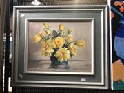 Sale 8824 - Lot 2033 - Dorothy Clements - Yellow Roses, 1954 oil on board, 49 x 56cm, signed -