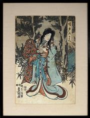 Sale 8961 - Lot 2005 - Utagawa Kunisada (Toyokuni III) (1786 - 1865) - Untitled 35 x 23.5 cm( frame: 48 x 36 x 2 cm)