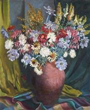 Sale 9047 - Lot 573 - Joan West (1927 - ) - Summer Flowers 59.5 x 49.5 cm (frame: 77 x 67 x 3 cm)