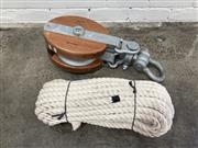 Sale 9063 - Lot 1068 - Large Timber and Metal Sea-Link Ships Pulley and Rope (h:28 x w:22 x d:16cm)