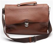 Sale 9080F - Lot 64 - A BALLY GENTS LEATHER MESSENGER BAG; brown pebble leather with silver tone hardware and woven mesh strap, exterior back pocket, lar...