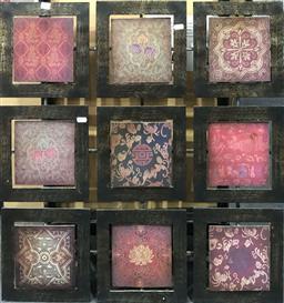 Sale 9103 - Lot 2074 - Artist Unknown Oriental Carpet & Tapestry designs, decorative print on metal frame, 74 x 74 cm, -