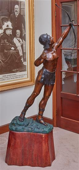 Sale 9103M - Lot 452 - An oversized spelter archer mounted on timber base, total Height 180cm