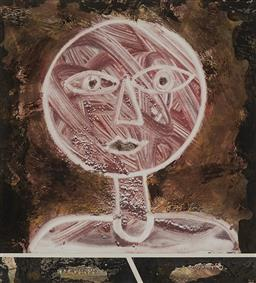 Sale 9170A - Lot 5012 - CHRISTINA CORDERO (1940 - ) Childs Head, 1989 mixed media on paper 19 x 16.5 cm (frame: 42 x 39 x 2 cm) signed and dated lower right