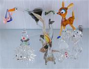 Sale 8369A - Lot 14 - A group of glass blown figurines including a creme de menthe liqueur stork