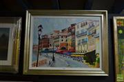 Sale 8458 - Lot 2028 - Rex Maurice, Street Scene, France, oil on canvas board, 45.5 x 60.5cm, signed verso
