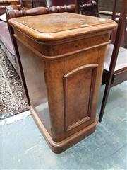 Sale 8868 - Lot 1129 - Good Pair of Victorian Burr Walnut Bedside Cabinets, with single arched panel door