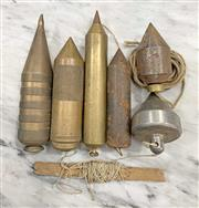 Sale 8951P - Lot 346 - Collection of 5 Large Vintage Metal Plumb Bobs (various sizes)