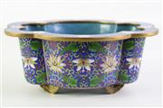 Sale 8926A - Lot 646 - Fine Cloisonne Footed Dish with a Blanc de Chine Guanyin Figure