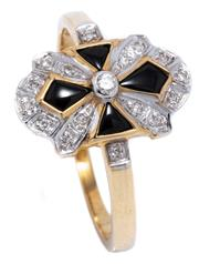 Sale 8991 - Lot 362 - A DECO STYLE ONYX AND DIAMOND RING; cross design in onyx and round brilliant cut diamonds in 9ct gold, size N1/2, top 14.3 x 8.8mm,...