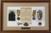 Sale 8994W - Lot 638 - Framed War Record With Medals For S.F. Bingle (59cm x 38cm)