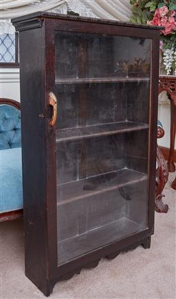 Sale 9103M - Lot 453 - A timber wall hanging display case with glass front and four shelves, Height 107cm x Width 66cm x Depth 22cm