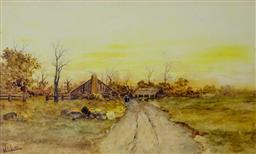 Sale 9191A - Lot 5014 - JAN DE LEENER (1873 - 1944) Almost Home watercolour 26.5 x 44 cm (frame: 49 x 67 x 3 cm) signed