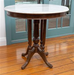 Sale 9191H - Lot 46 - An antique marble top occaissional table, H 74 x D 75 cm