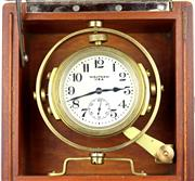 Sale 8402W - Lot 86 - HAMILTON 8 DAY MARINE CHRONOMETER; matte dial, Arabic numerals, subsidiary seconds on a 15 jewell movement no. 24716547 size 56mm, i...