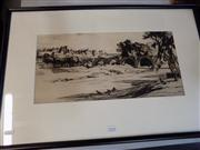 Sale 8441T - Lot 2047 - Malcolm Osborne - River Scene and Distant View of Town 22.5 x 47cm