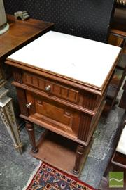 Sale 8460 - Lot 1038 - Early 20th Century French Walnut Bedside Cabinet, with marble top, a drawer, a door & shelf below